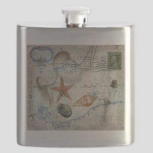seashells nautical map vintage anchor Flask