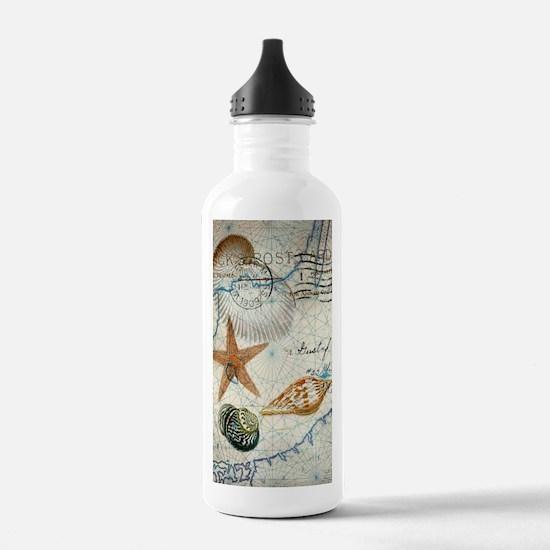 seashells nautical map vintage anchor Water Bottle