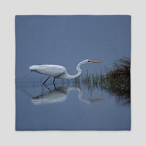 great white egret Queen Duvet