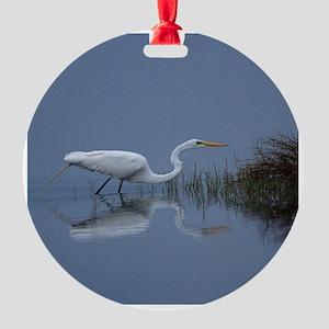 great white egret Round Ornament
