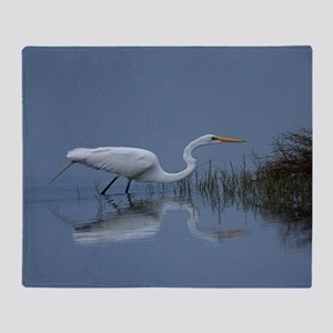 great white egret Throw Blanket