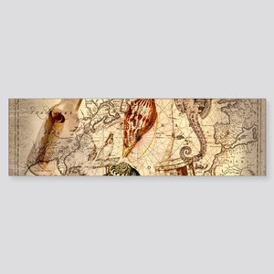 seashells nautical map vintage anchor Bumper Stick