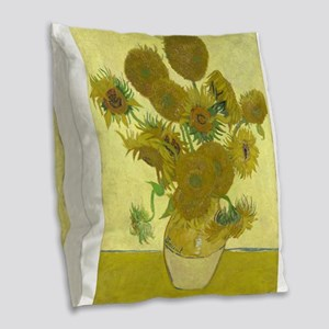 van gogh sunflowers Burlap Throw Pillow