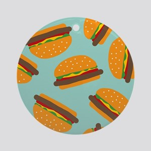 Cute Burger Pattern Ornament (Round)