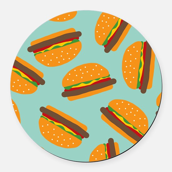 Cute Burger Pattern Round Car Magnet