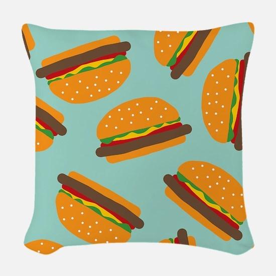 Cute Burger Pattern Woven Throw Pillow