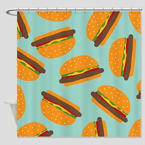 Cute Burger Pattern Shower Curtain
