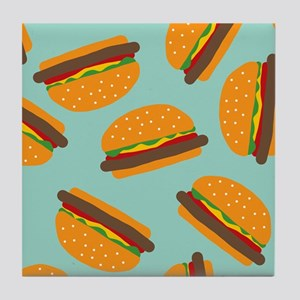 Cute Burger Pattern Tile Coaster