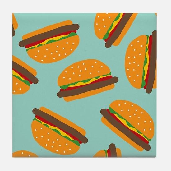 Cute Burger Pattern Tile Coaster