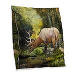 Elk Burlap Throw Pillow