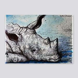 Rhino! Wildlife art! 5'x7'Area Rug