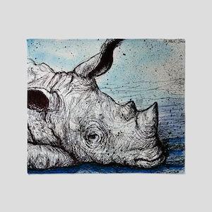 Rhino! Wildlife art! Throw Blanket