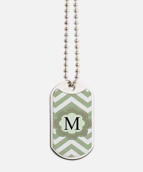 Green Chevron Monogram Dog Tags