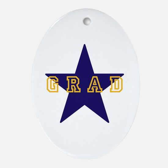 Grad Graduating Graduate Star Ornament (Oval)