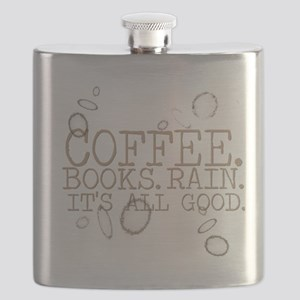 coffee.books.rain.brownlettering Flask