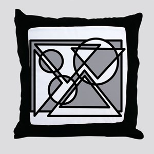 Triangles And Circles #5 (gray) Throw Pillow