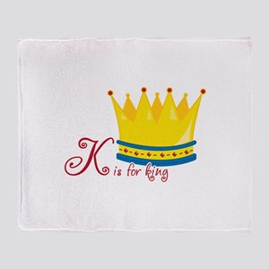 K is for king Throw Blanket
