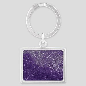 Purple Glitter  Bokeh Landscape Keychain