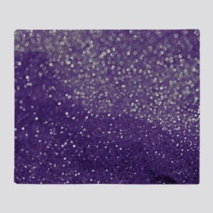 Purple Glitter  Bokeh Throw Blanket