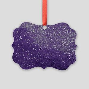 Purple Glitter  Bokeh Picture Ornament