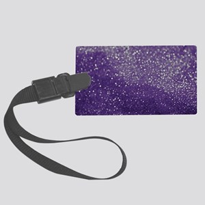 Purple Glitter  Bokeh Large Luggage Tag
