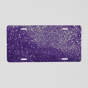 Purple Glitter  Bokeh Aluminum License Plate