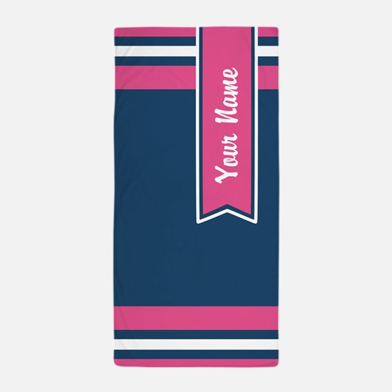 Navy and Pink Stripes Custom Beach Towel