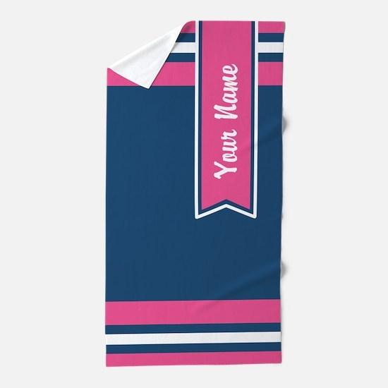 Navy and Pink Stripes Custom Beach Towel
