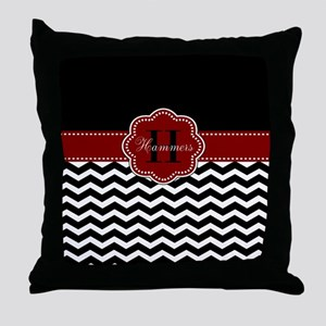 Red Black Chevron Personalized Throw Pillow
