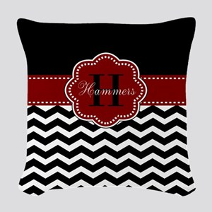 Red Black Chevron Personalized Woven Throw Pillow