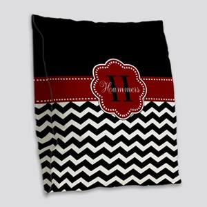 Red Black Chevron Personalized Burlap Throw Pillow