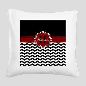 Red Black Chevron Personalized Square Canvas Pillo