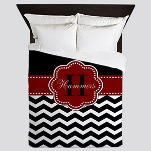 Red Black Chevron Personalized Queen Duvet