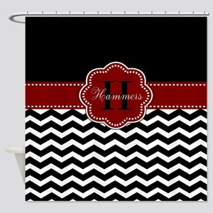 Red Black Chevron Personalized Shower Curtain