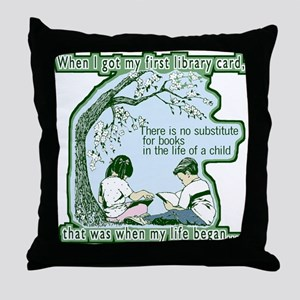 No Substitute For Books Throw Pillow