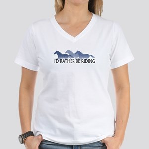 Rather Be Riding A Wild Horse Women's V-Neck T-Shi