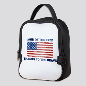 Land Of The Free Thanks To The Brave Neoprene Lunc