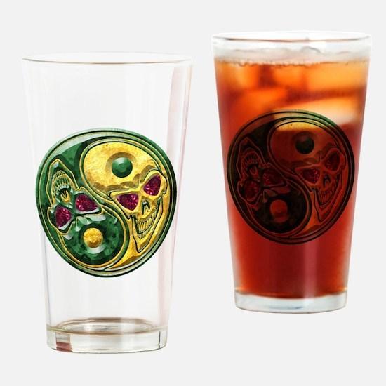 Yin Yang Jade Ruby Skulls Medallion Drinking Glass