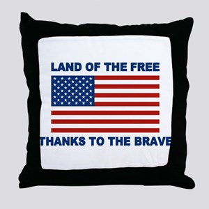 Land Of The Free Thanks To The Brave Throw Pillow