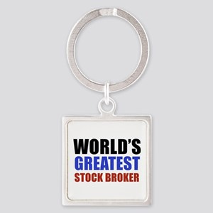 stock broker designs Square Keychain
