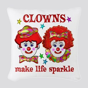 CLOWNS Sparkle Woven Throw Pillow