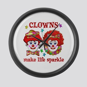 CLOWNS Sparkle Large Wall Clock