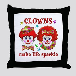 CLOWNS Sparkle Throw Pillow