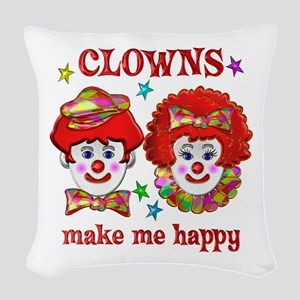 CLOWN Happy Woven Throw Pillow
