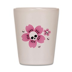 Skull Pink Blossoms Shot Glass