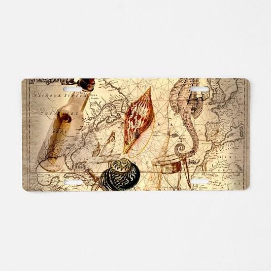 seashells nautical map vintage anchor Aluminum Lic