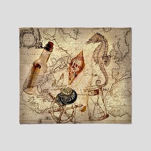 seashells nautical map vintage anchor Throw Blanke