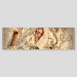 seashells nautical map vintage anchor Bumper Stick
