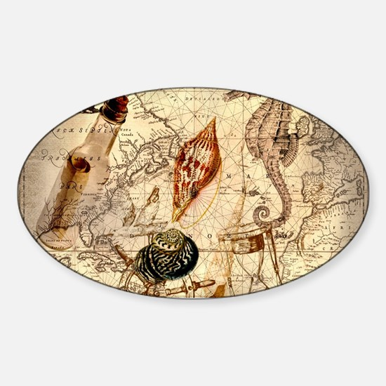 seashells nautical map vintage anchor Decal