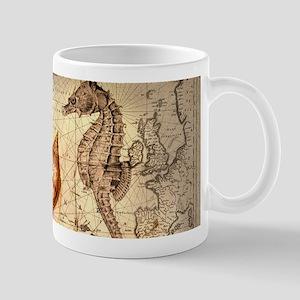 seashells nautical map vintage anchor Mugs